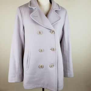 Gorgeous LL Bean Lavender Pea Coat Lambswool sz 12